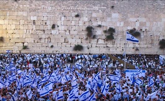 Марш с Флагами на цетральных улицах Иерусалима