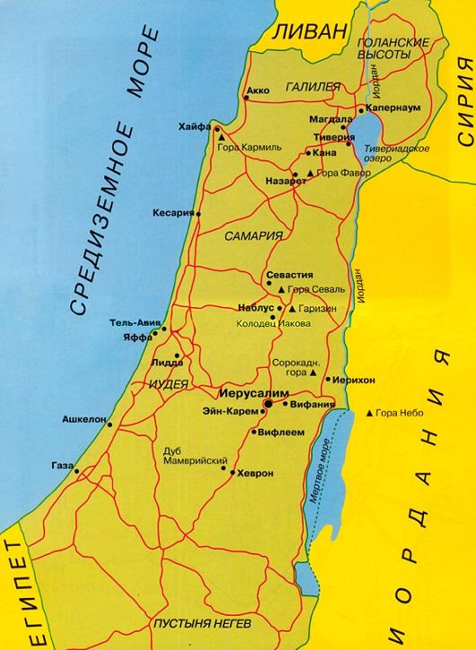 Река Иордан на карте Израиля