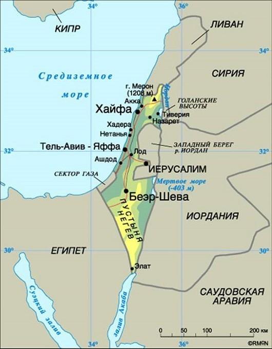 Государство Израиль на карте Ближнего Востока