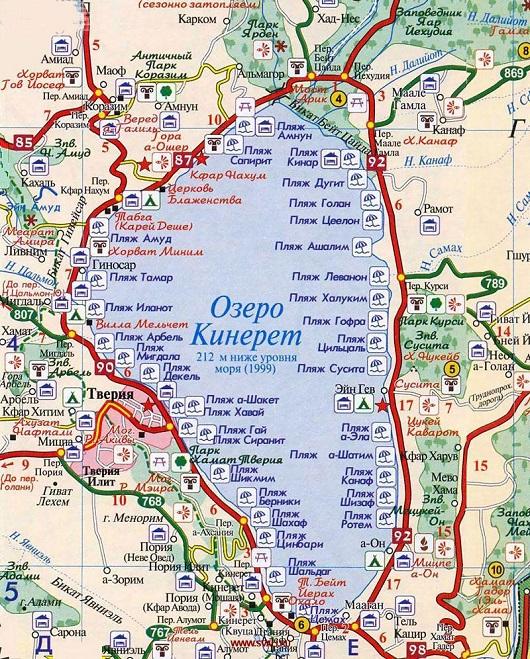 Карта мест для кемпинга на озере Кинерет