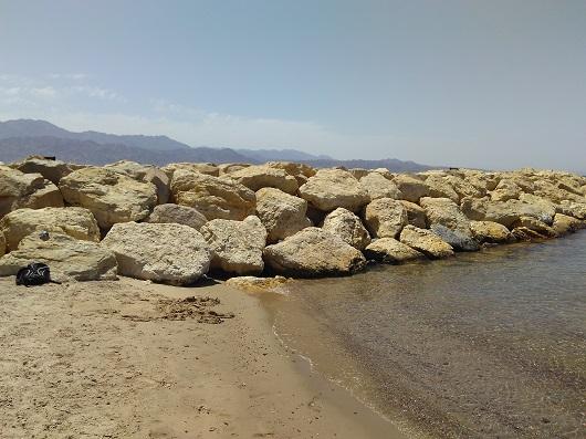 Место обитания крабов на пляже отеля Херодс